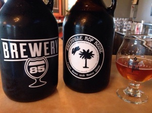 Growlers of Lost Port Vanilla Porter and Hazelnut Brown Ale alongside the Double IPA